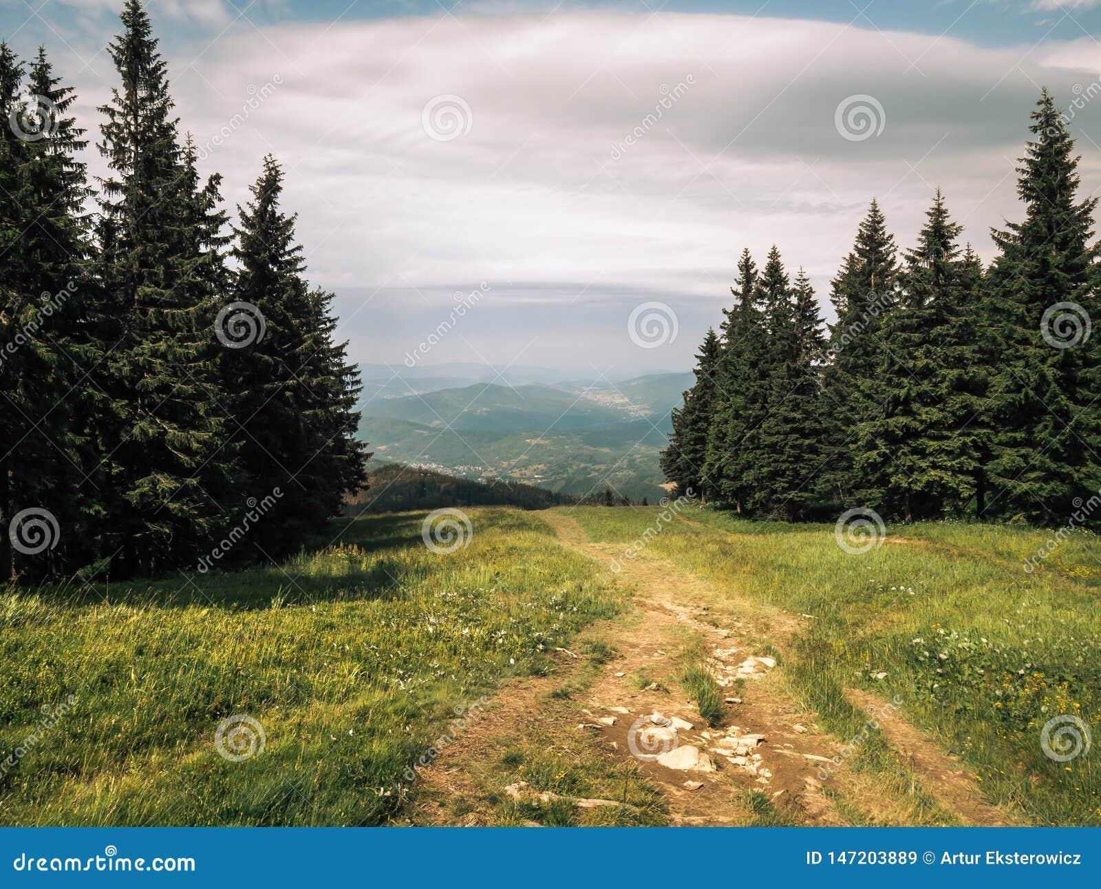 Fuga da beleza em montanhas místicos