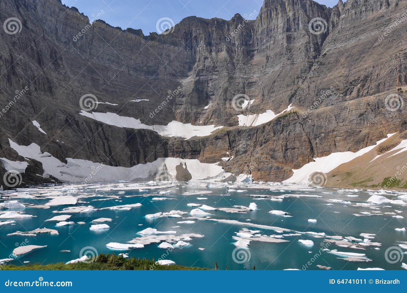 Fuga do iceberg no parque nacional de geleira, Montana, EUA