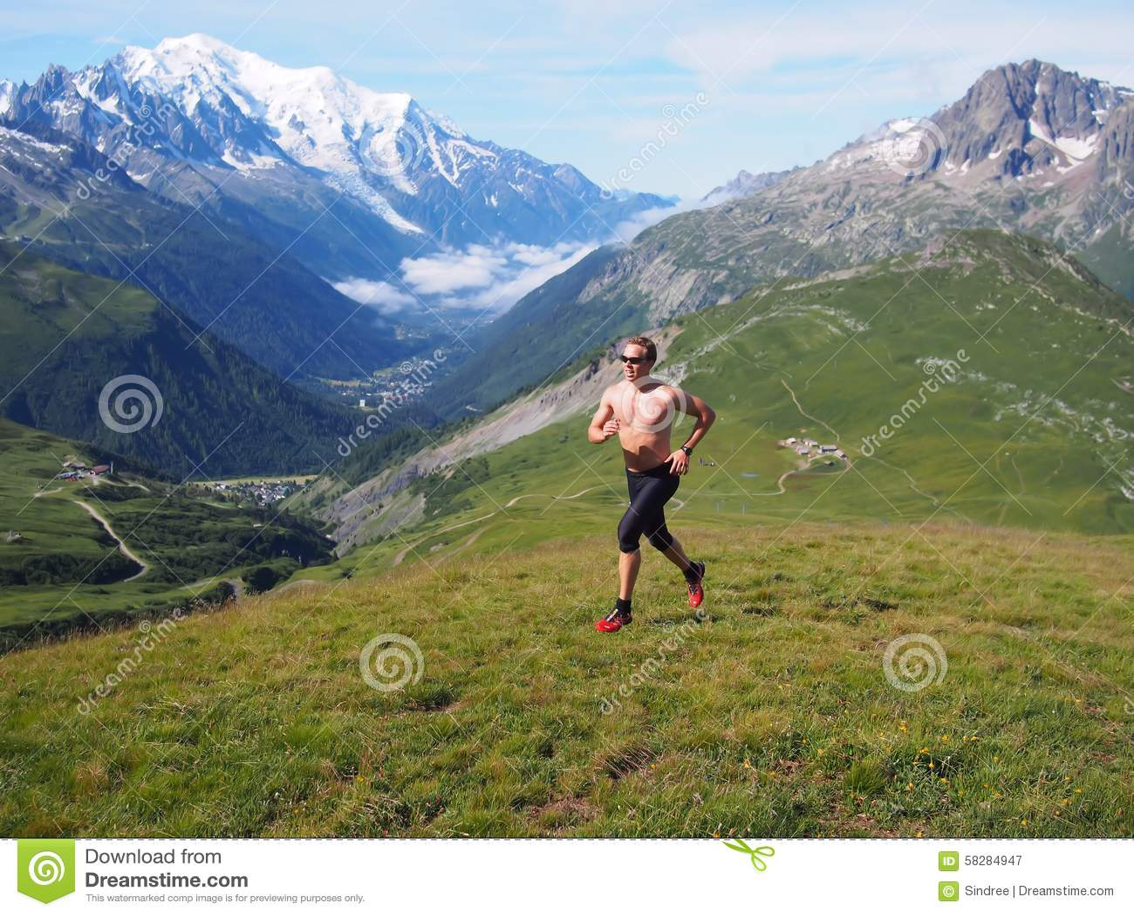 Fuga que corre em Chamonix France