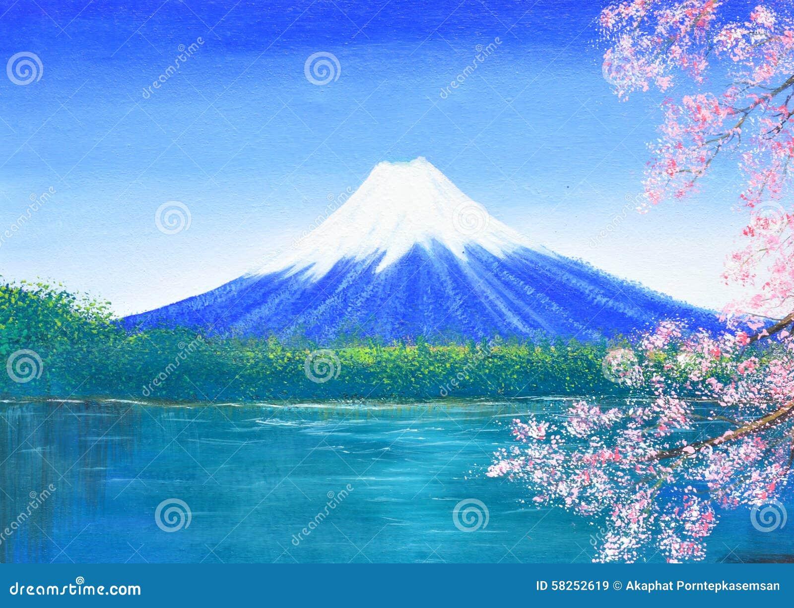 Fuji-Gebirgsölgemälde auf Segeltuch
