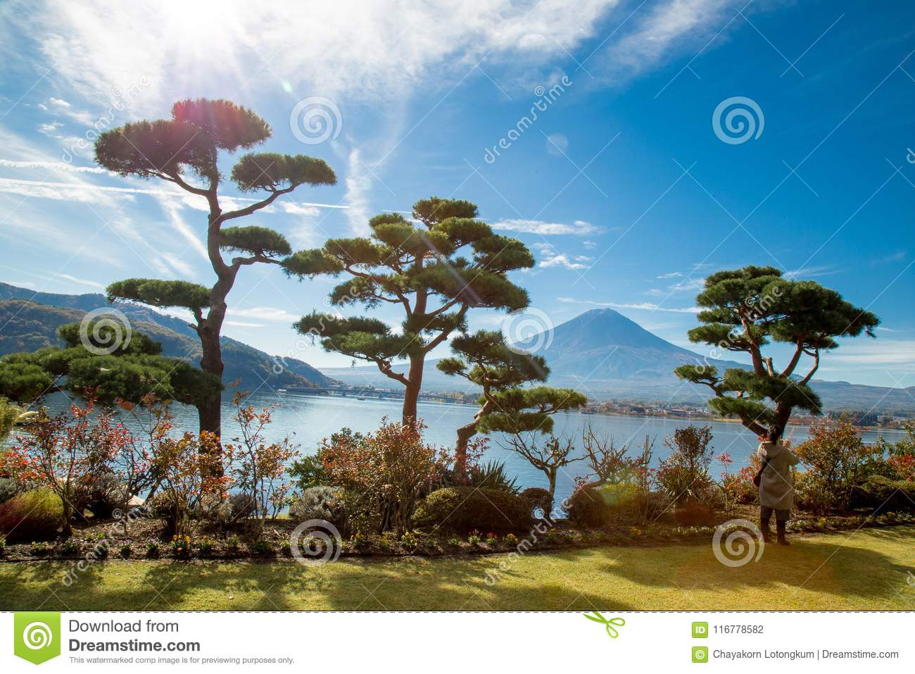 Fuji japan,fuji mountain at kawaguchiko lake snow landscape