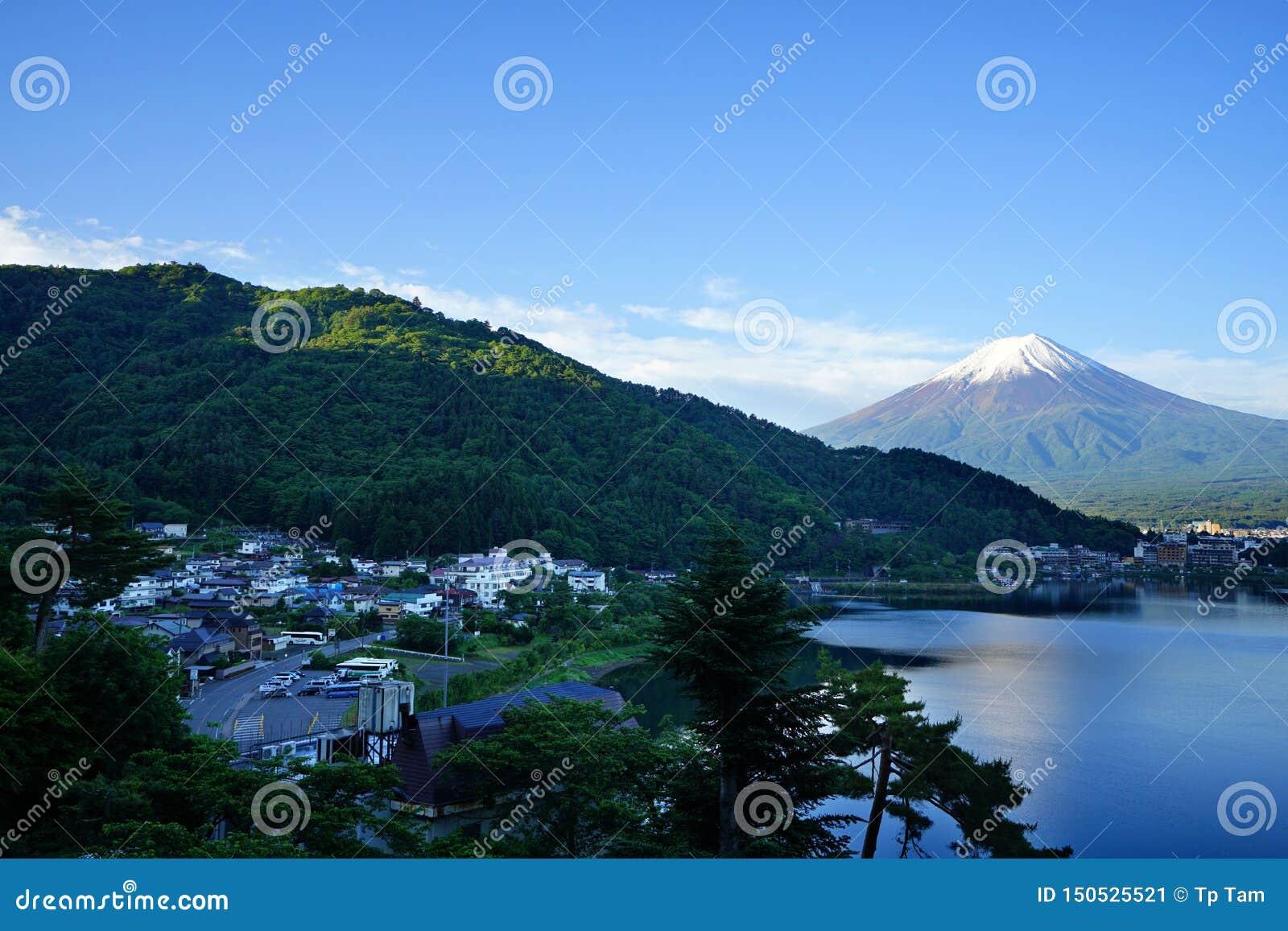 Fuji Mountain at lake Kawaguchi, Japan