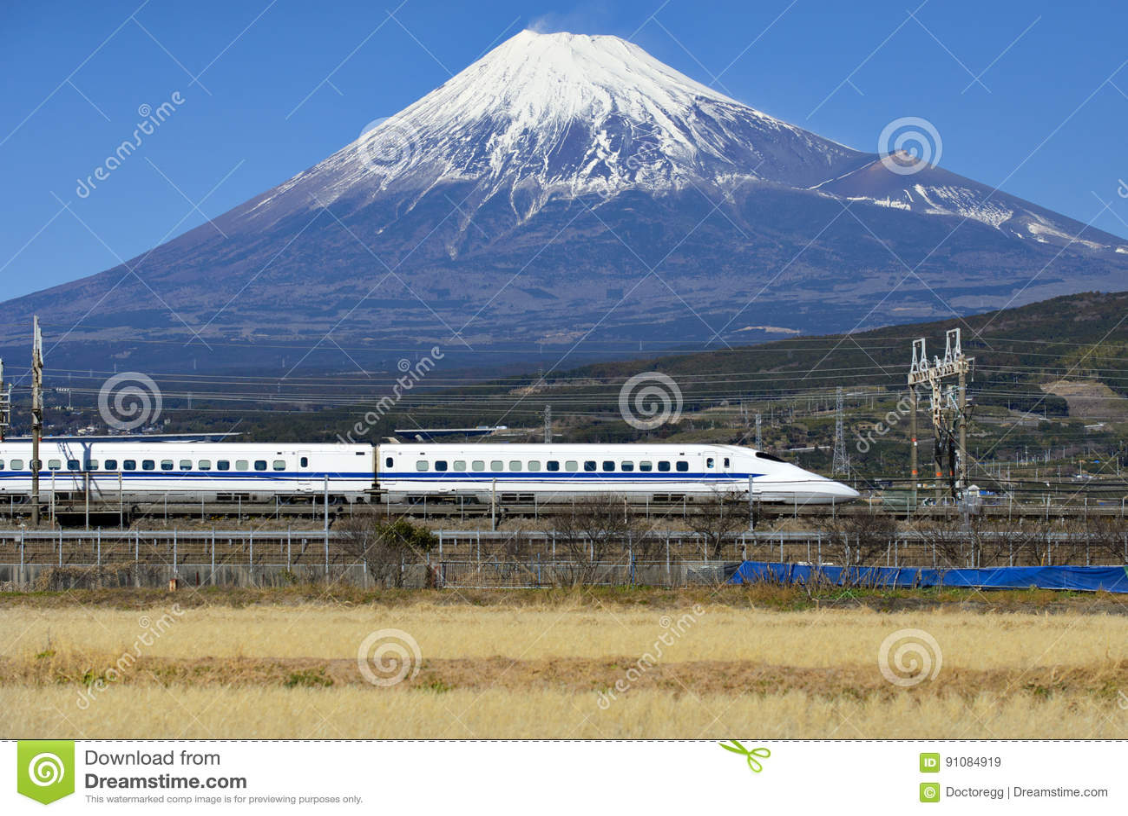 Fuji Mountain And Shinkansen Bullet Train Stock Image