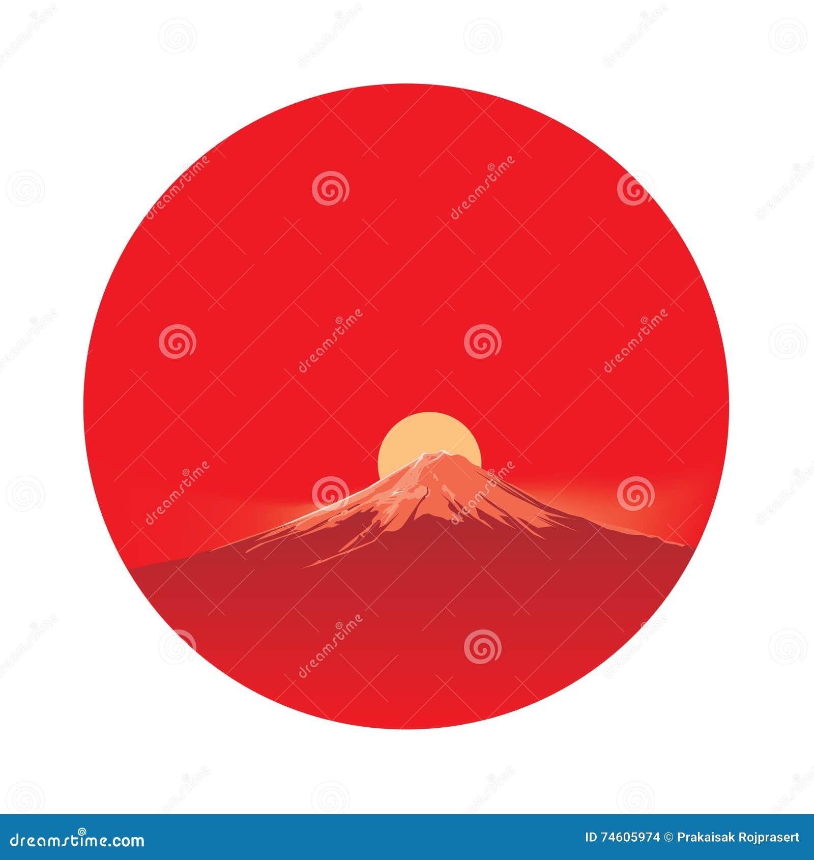 Fujiyama przed słońcem w okręgu terenie