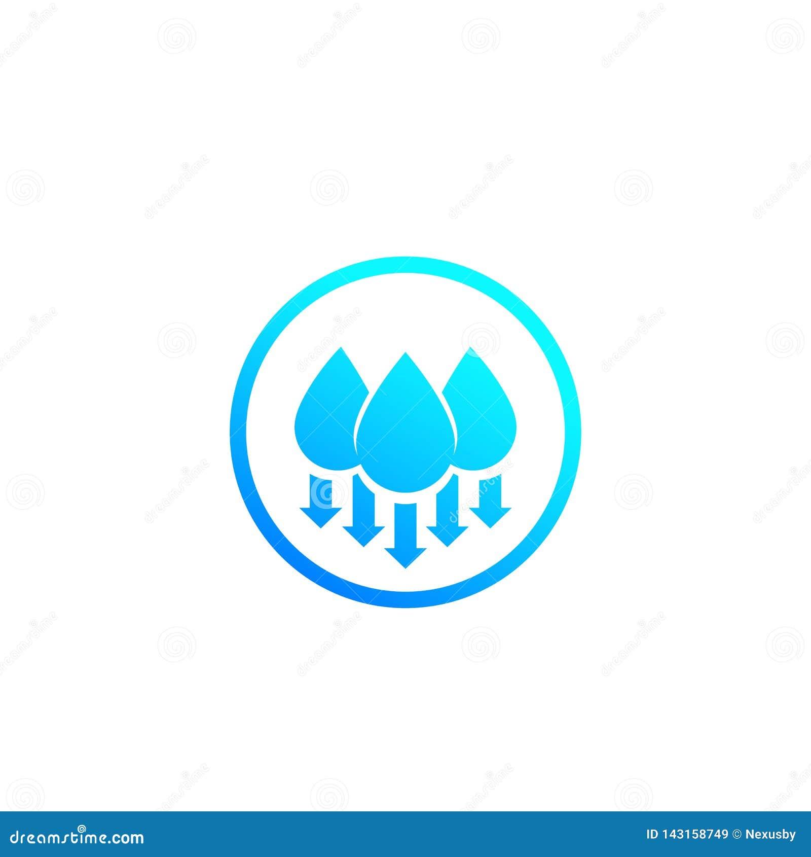 Fuktighet vattennivå ner, vektorsymbol