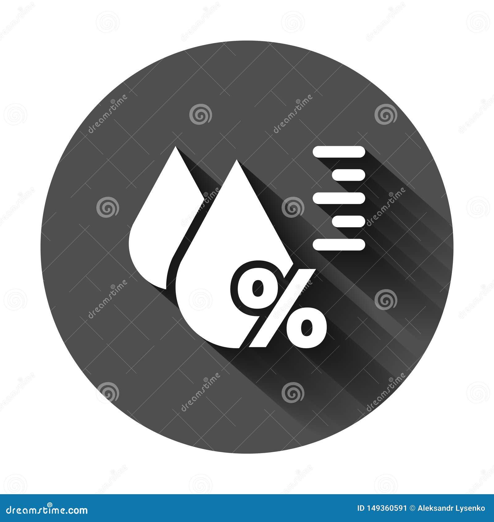 Fuktighetssymbol i plan stil Klimatvektorillustration p? svart rund bakgrund med l?ng skugga Temperaturprognosaff?r
