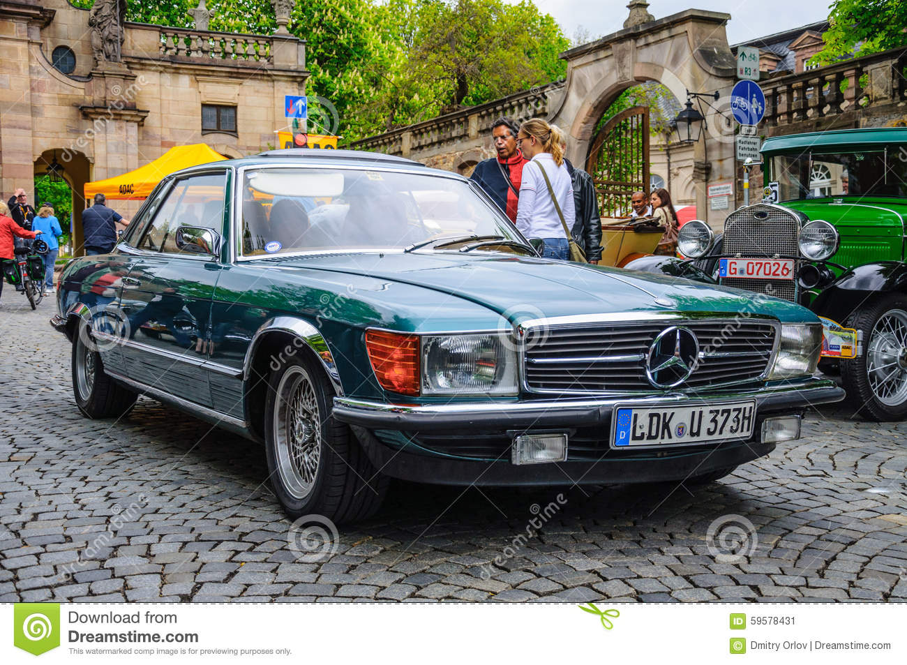 fulda germany mai 2013 mercedes benz sl r107 coupe retro car editorial photo image 59578431. Black Bedroom Furniture Sets. Home Design Ideas