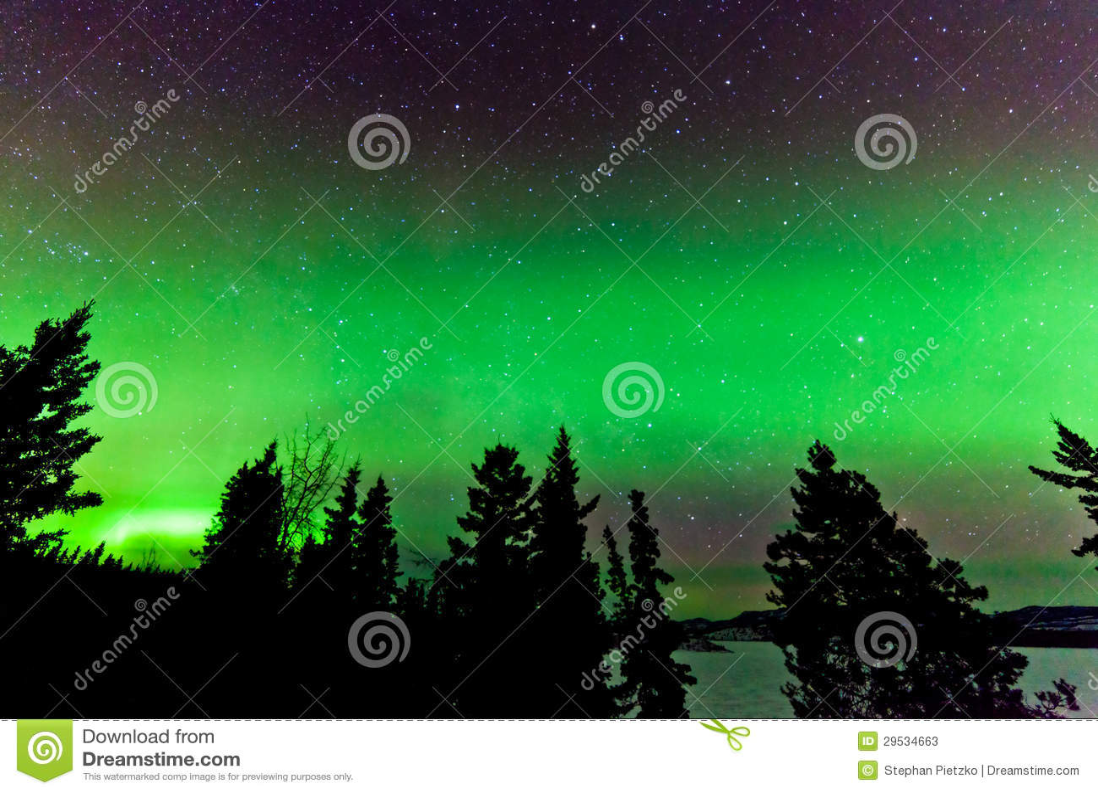 Fulgor verde de borealis da aurora boreal ou da Aurora