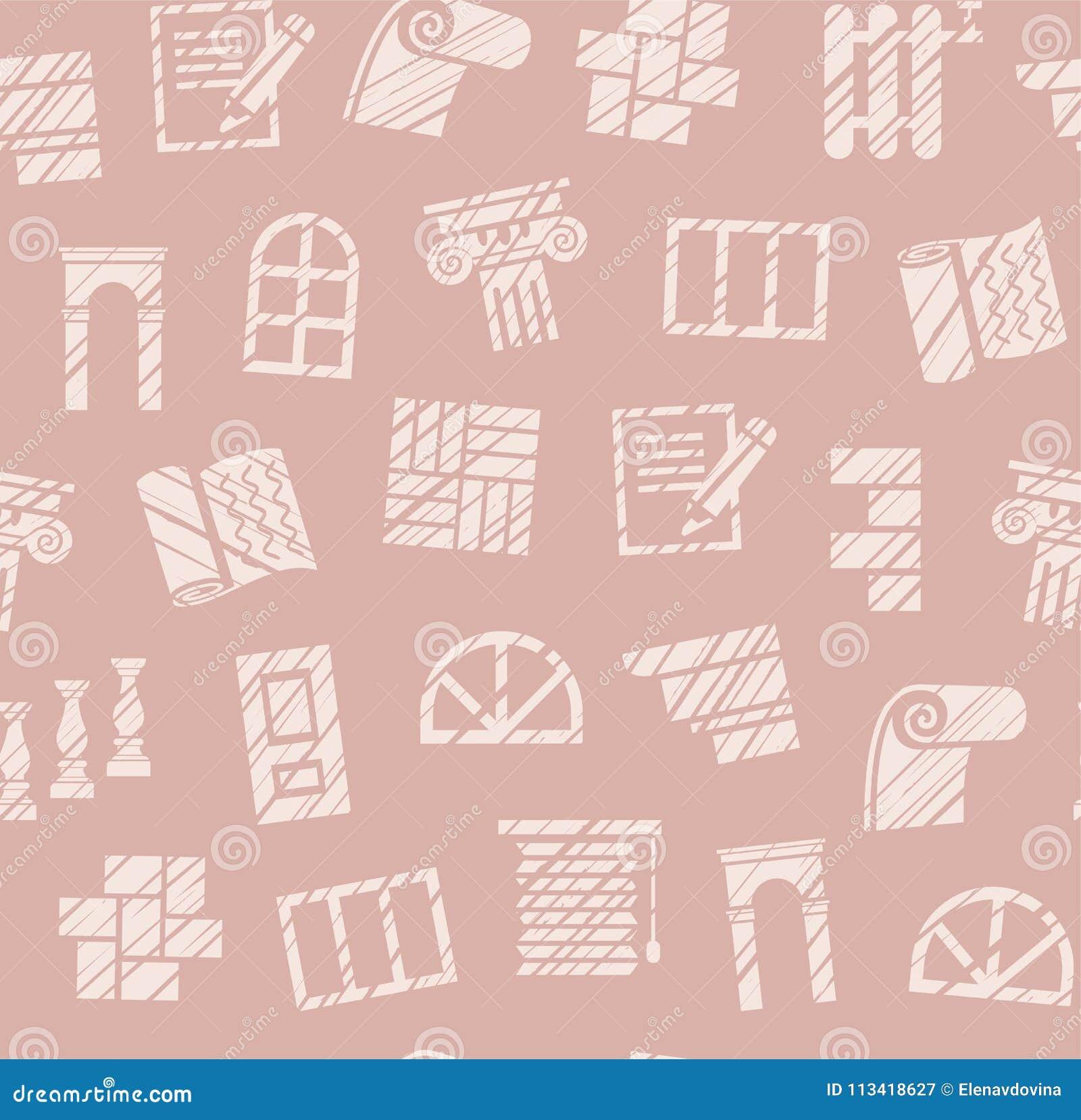 Fulländande material, konstruktion, sömlös modell, blyertspenna som kläcker, rosa färg, färg, vektor