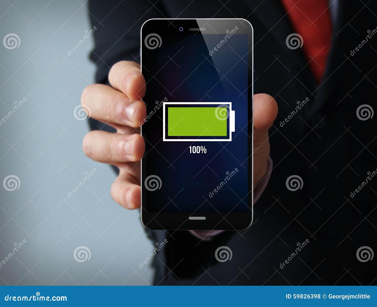 Technology Management Image: Full Battery Businessman Smartphone Stock Photo