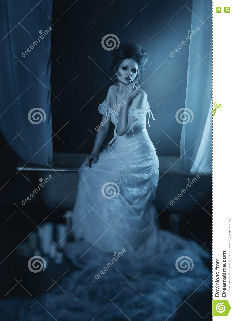 full body beautiful girl ghost, witch, bride sitting on a vintage copper bath with a white canopy, in a long white dress with