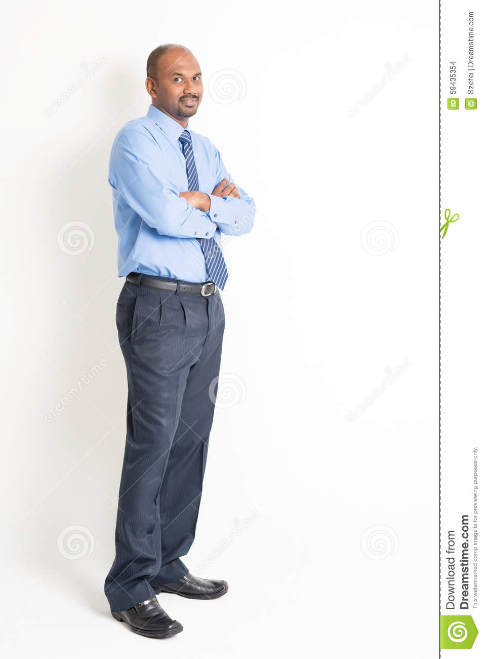 Full body confident mature Indian man executive