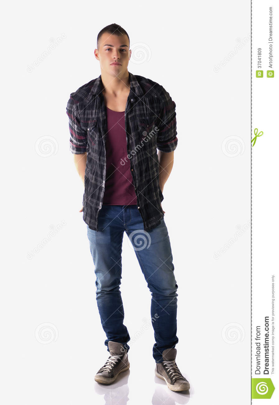 Full body shot of attractive young man with checkered shirt