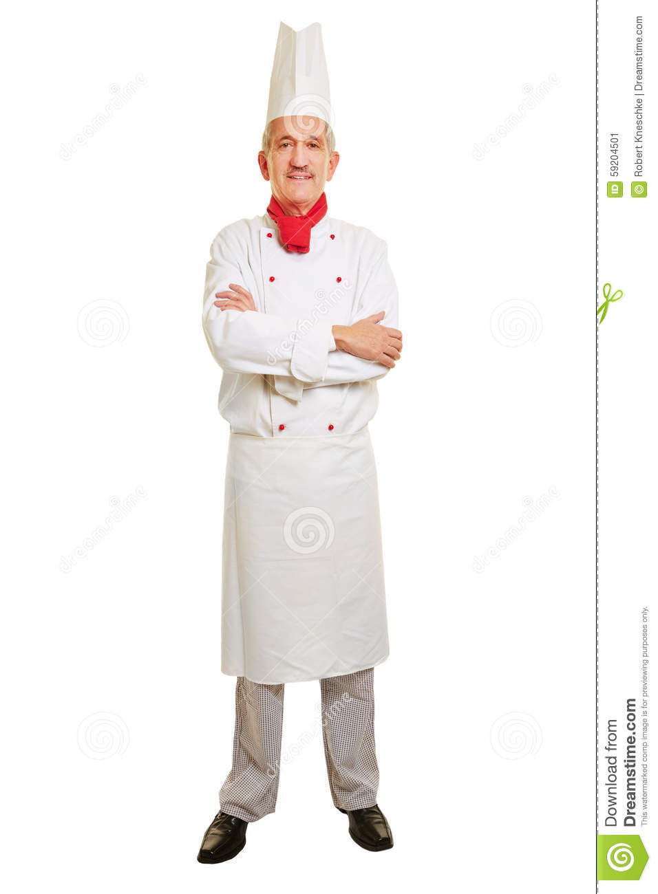Full body shot of chef cook in workwear with his arms crossed.