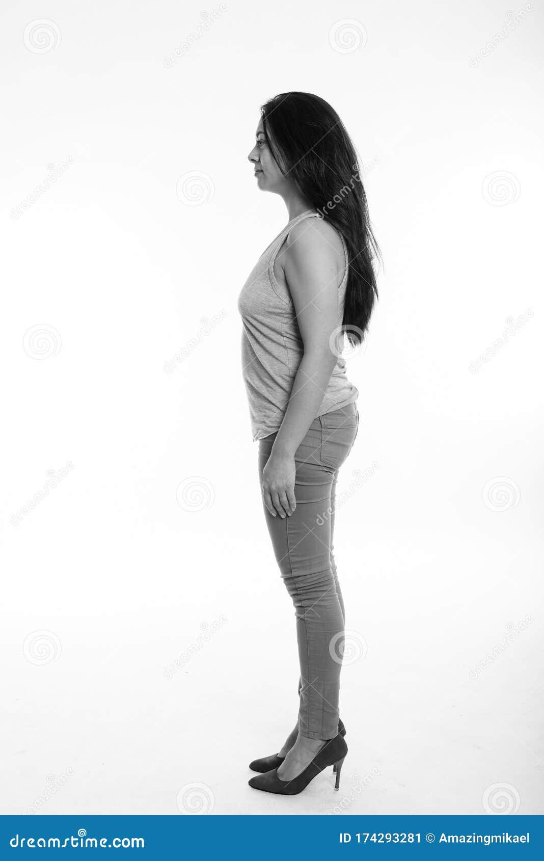 Full Body Shot Profile View Of Beautiful Woman Standing