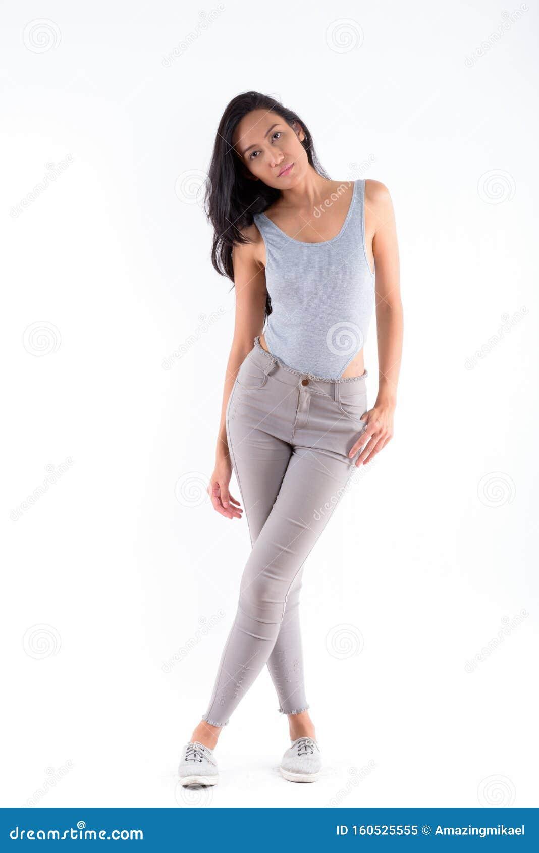 Beautiful Girl Striped Dress Standing Full Length Smiling