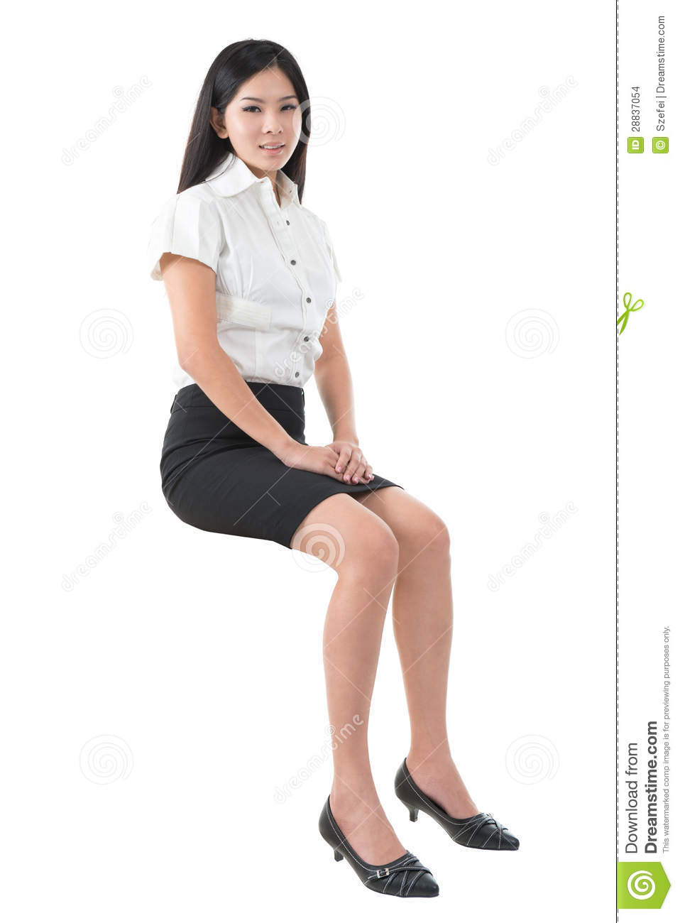 Full Body Young Asian Woman Sitting Stock Images Image