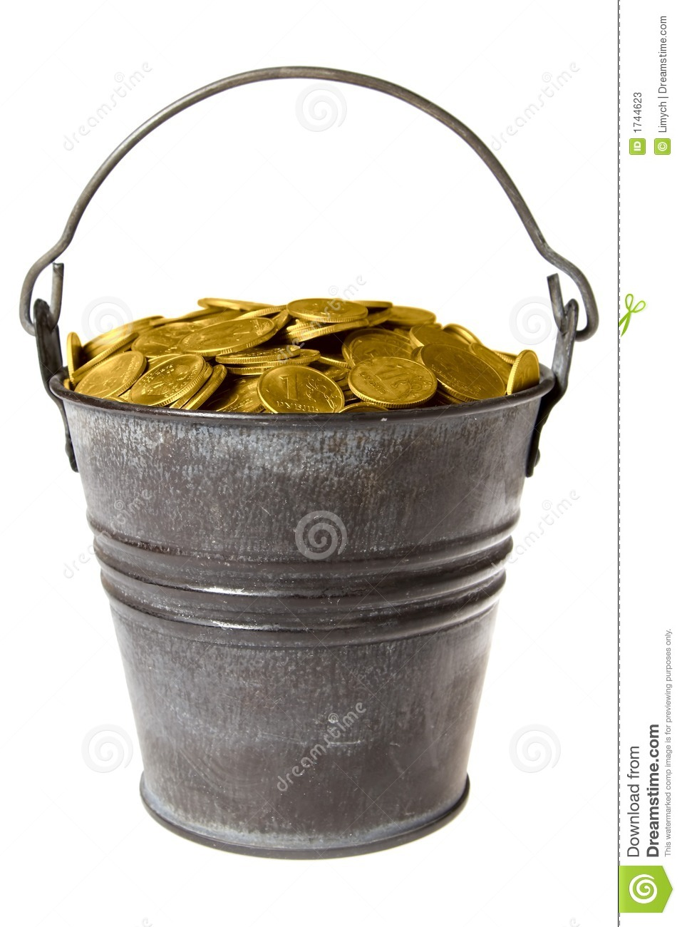 Full Bucket Of Golden Coins Stock Photos - Image: 1744623