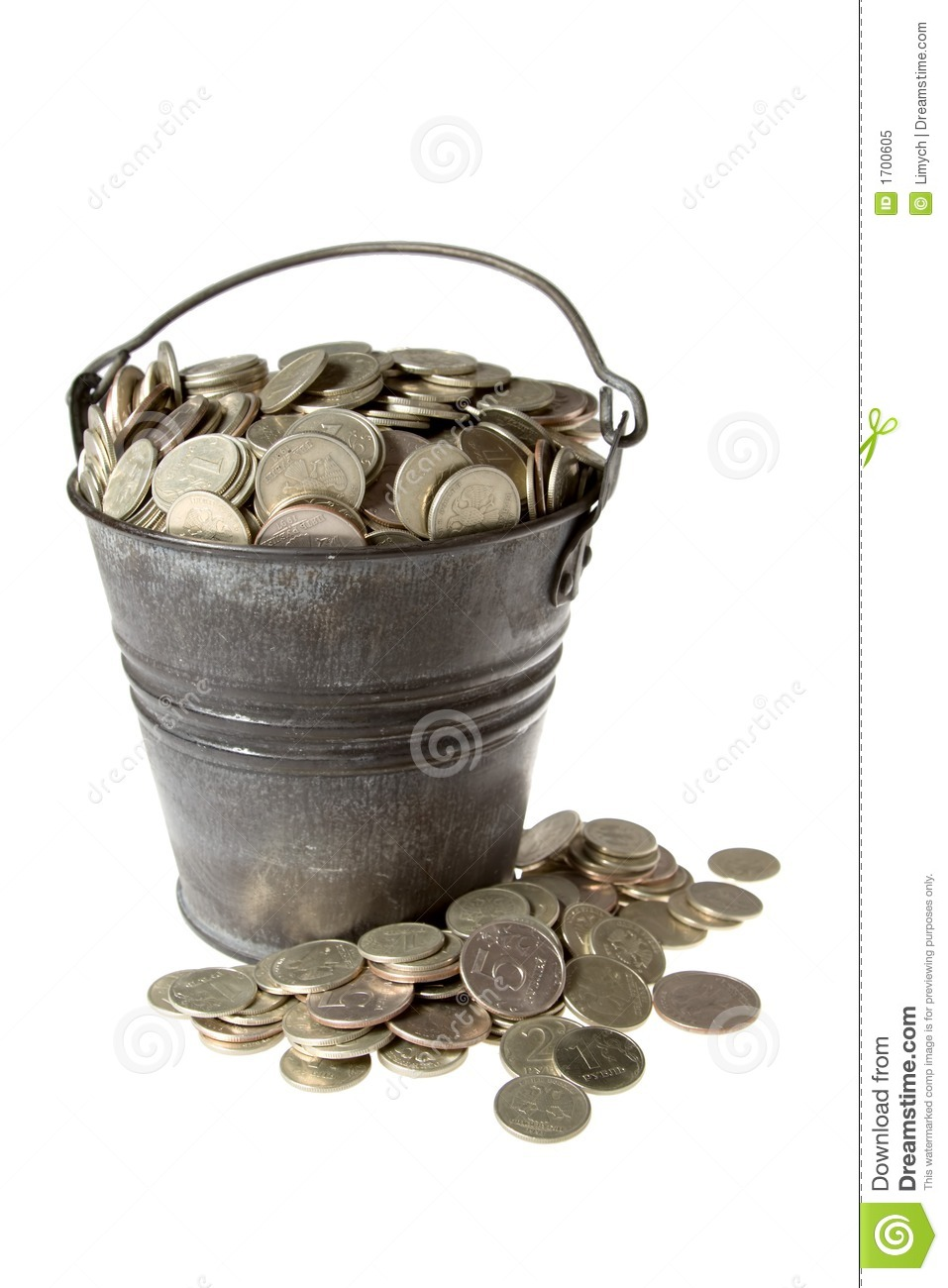 Full Bucket Of Silver Coins Stock Image Image 1700605