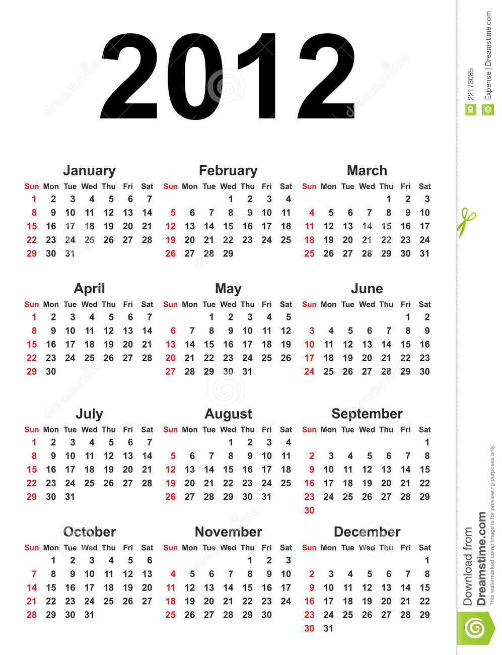 Full Calendar_2012 Royalty Free Stock Photo - Image: 22173085