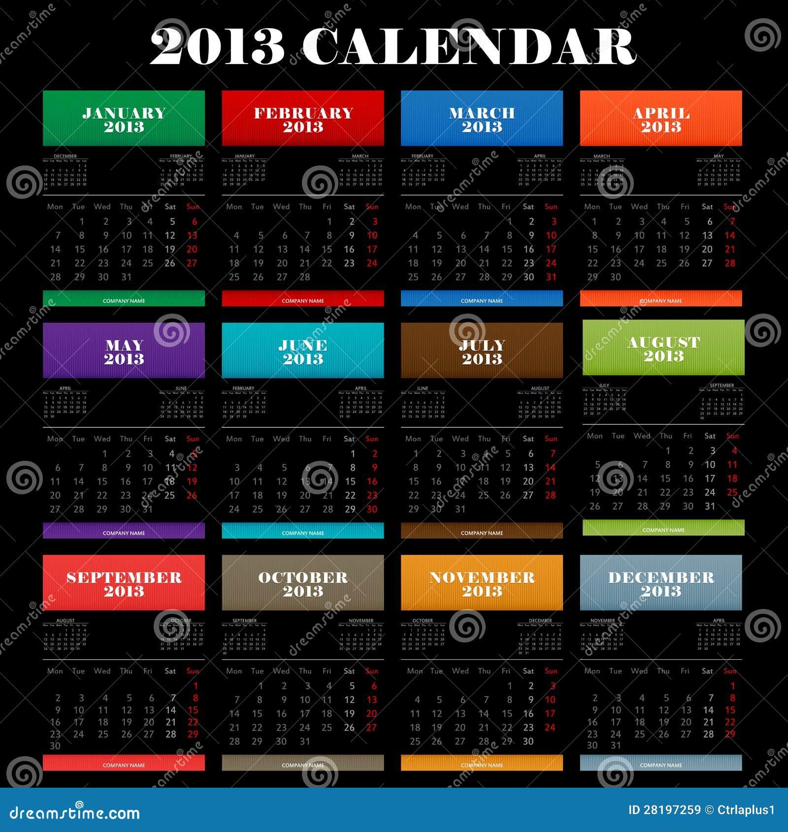 Full Color 2013 Year Calendar Stock Vector - Illustration ...