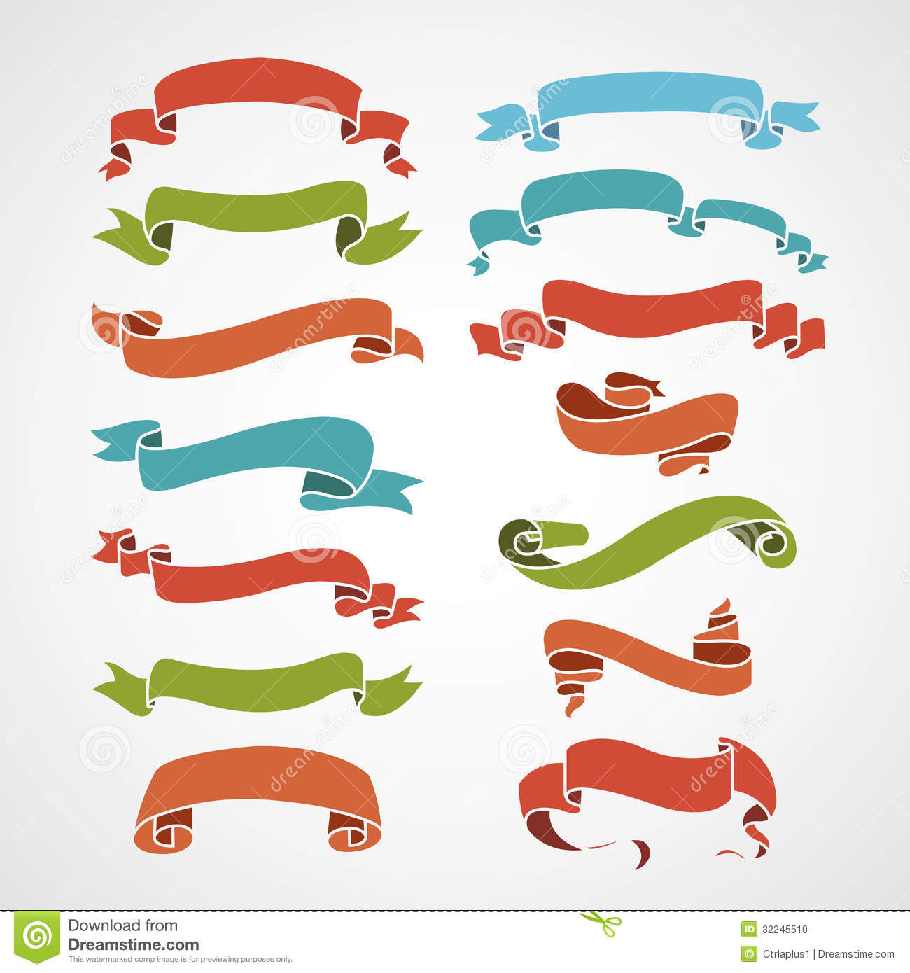 Full Color Set Of Vintage Ribbons Stock Vector Image