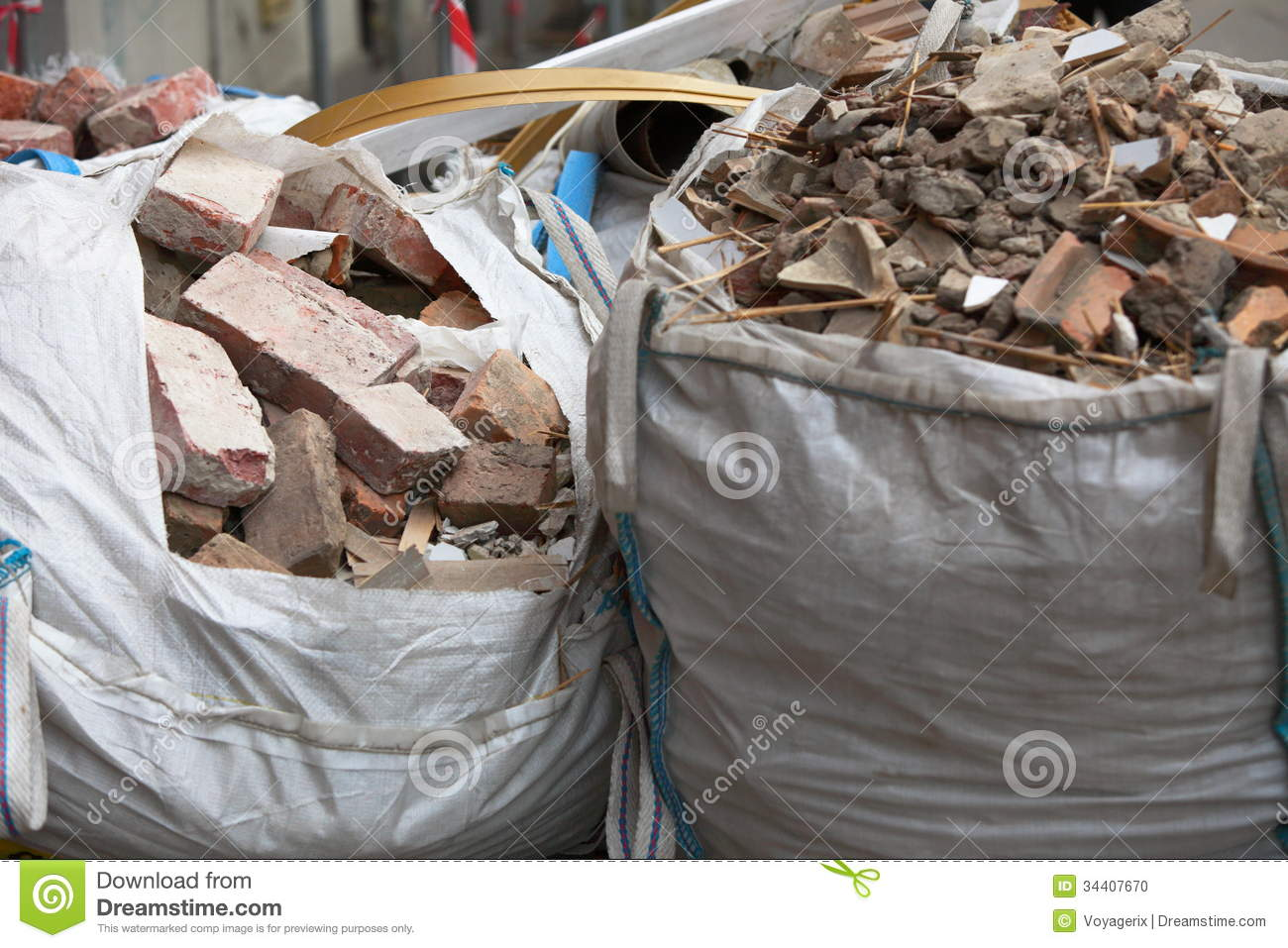 Free Junk Removal >> Full Construction Waste Debris Bags Stock Photo - Image: 34407670