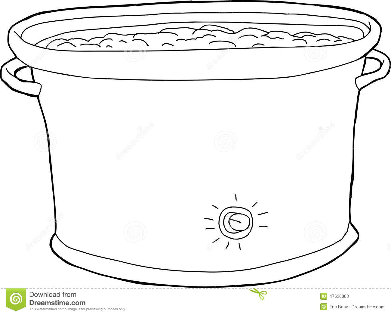 full crock pot outline stock vector  illustration of metal