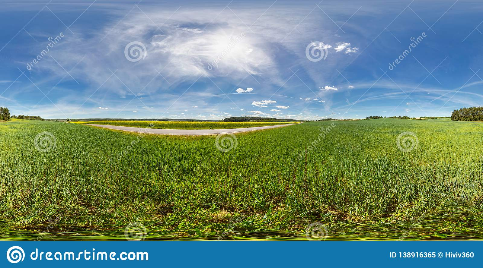 Full 360 degree seamless panorama in equirectangular spherical equidistant projection. Panorama in a field near a road with