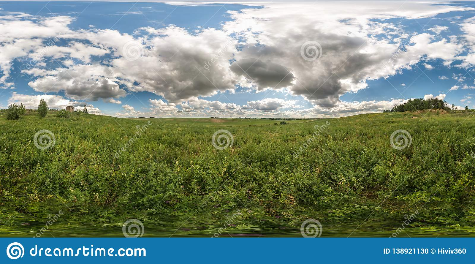 Full 360 degree seamless panorama in equirectangular spherical equidistant projection. Panorama view in a meadow in beautiful day