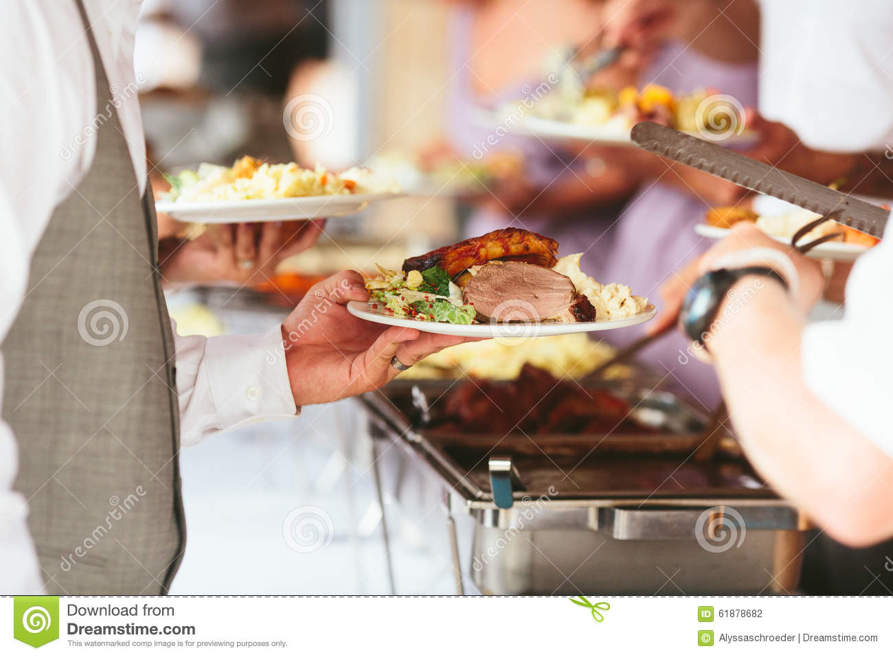 Full Dinner Plate At Wedding Reception Stock Photo - Image ...