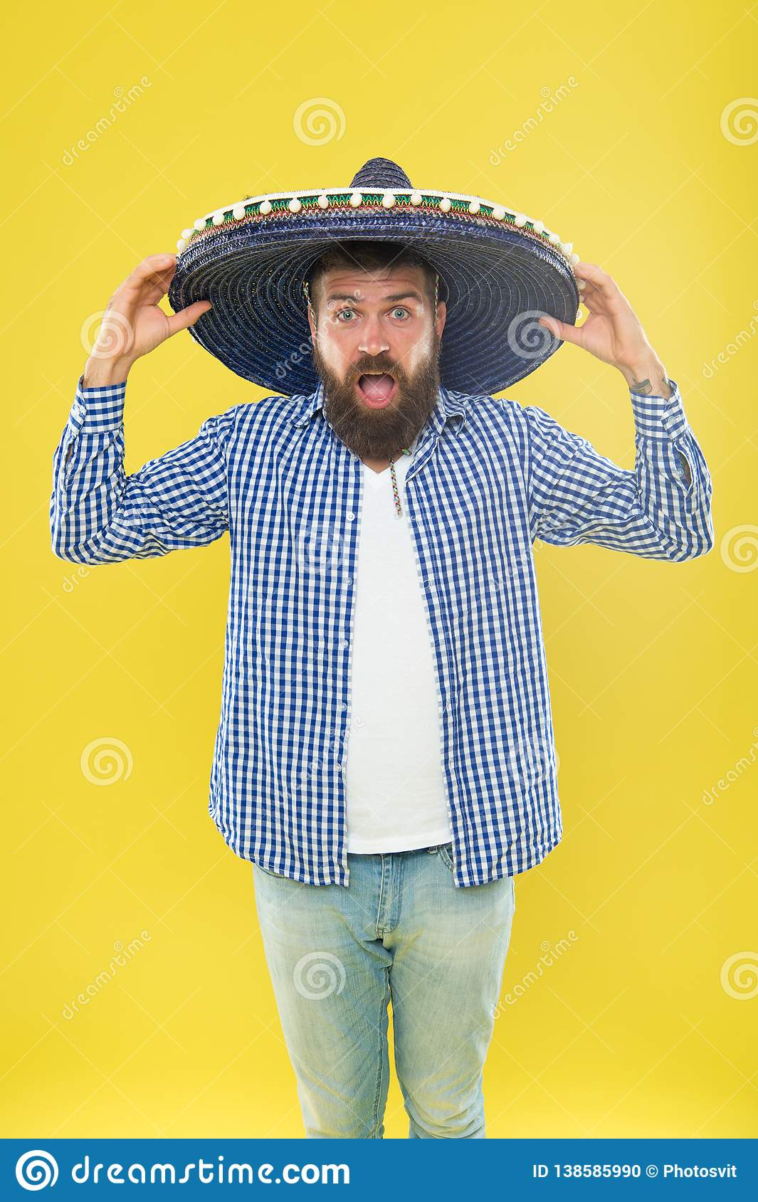 Full of emotions. Hipster in wide brim hat. Traditional fashion accessory for mexican costume party. Mexican man wearing