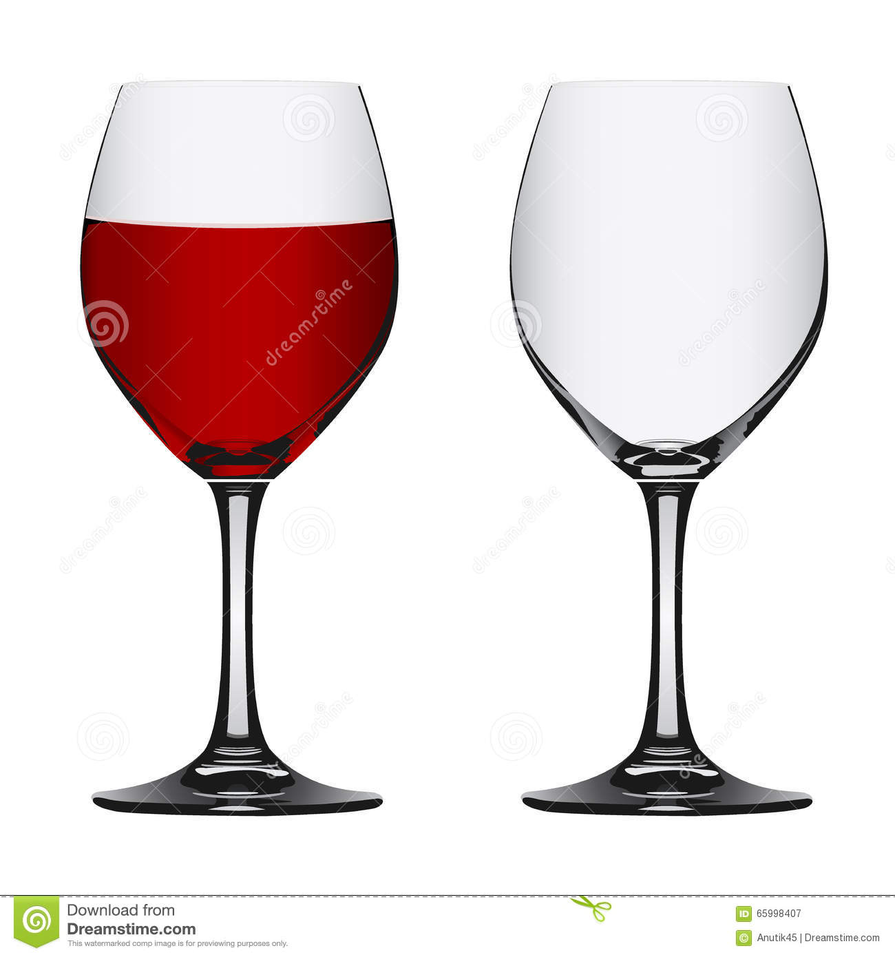 full and empty red wine glass vector illustration stock