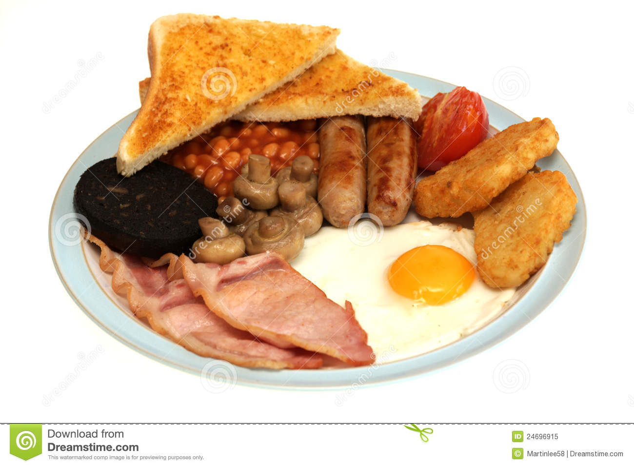 full english traditional cooked fried breakfast with a fried egg two ...