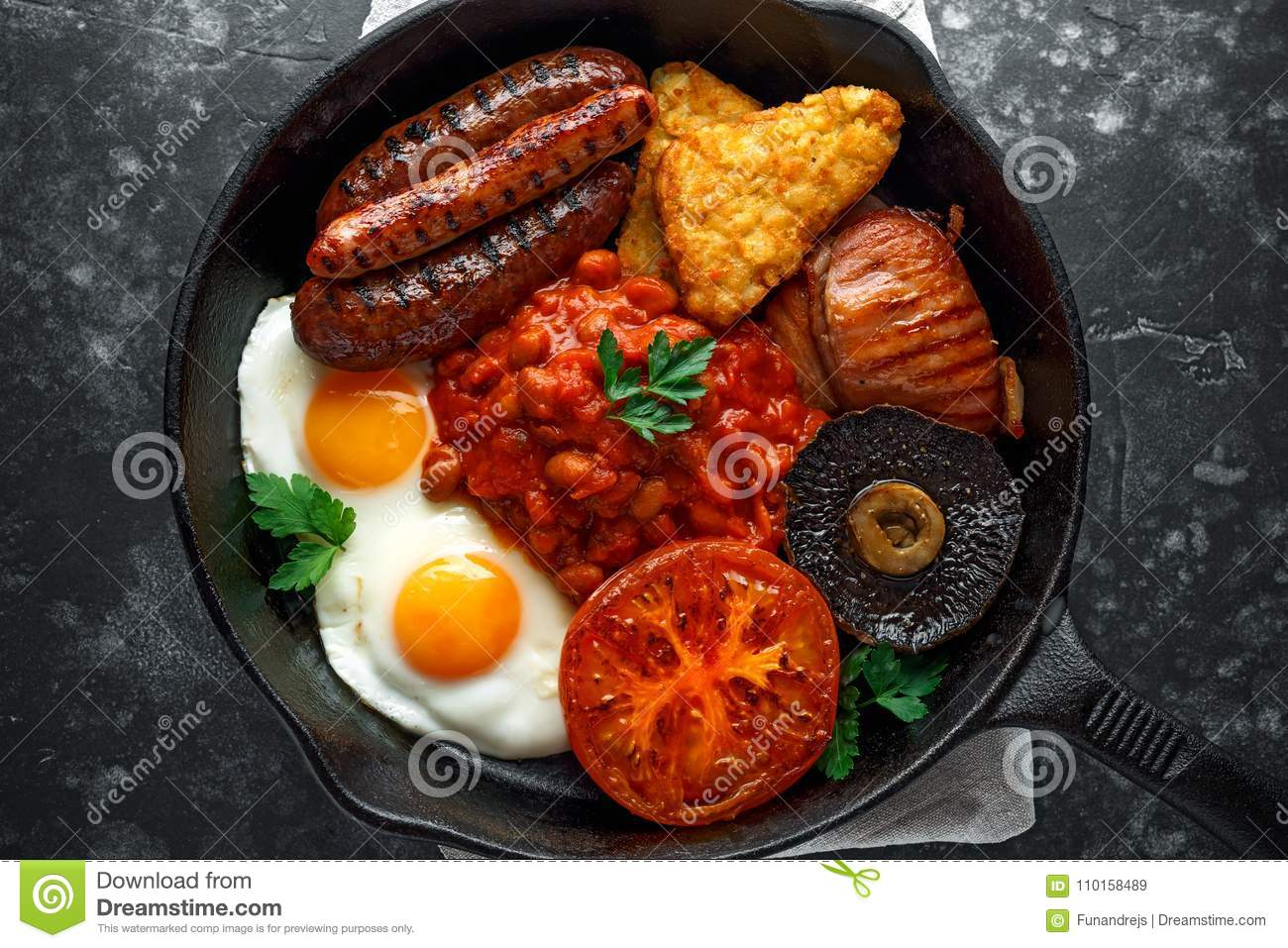 Full English Breakfast With Bacon Sausage Fried Egg Baked Beans