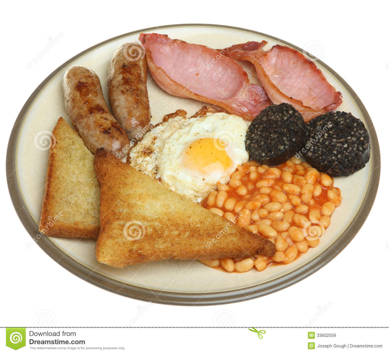 Traditional Full English Breakfast: Full English Fried Breakfast Isolated On White Royalty