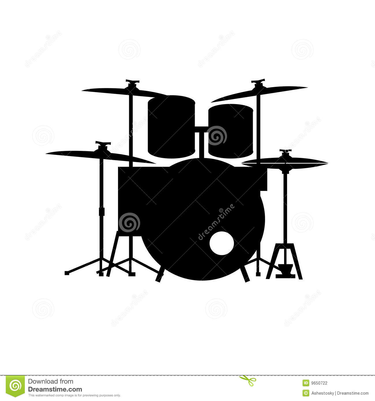 Full equipped drum kit vector White Drum Set Silhouette