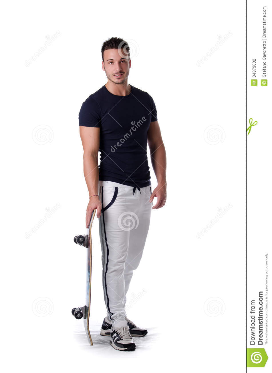 Full Figure Shot Of Young Man With Skateboard, Isolated On ...