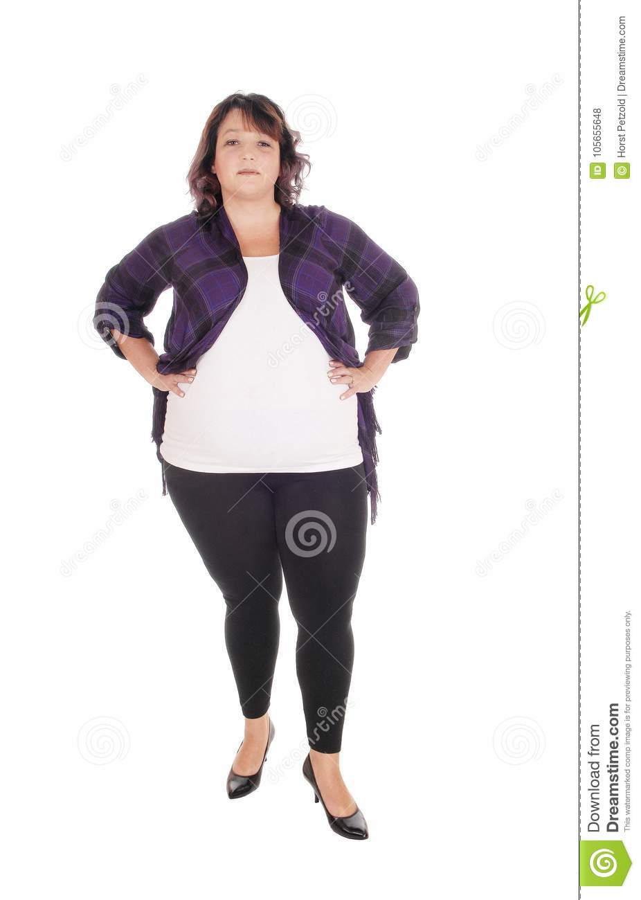 Full Figured Woman Standing In Tights Stock Photo