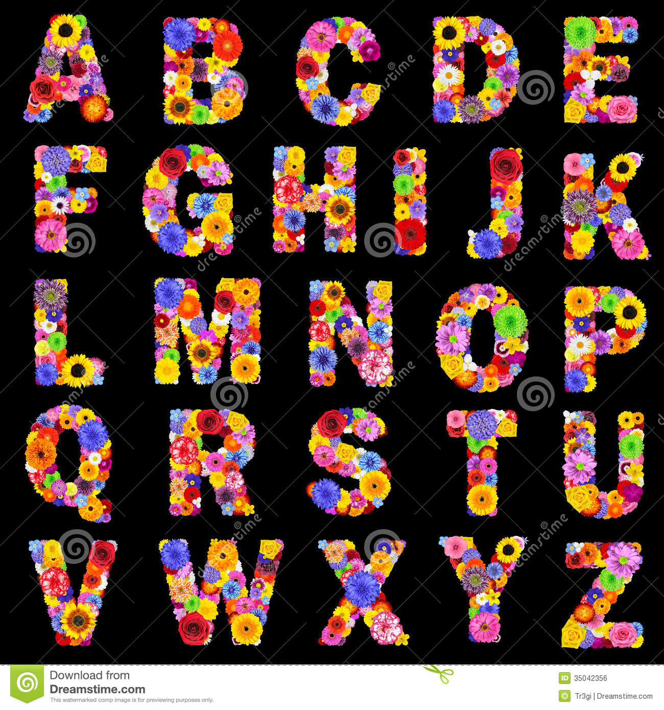 Full floral alphabet isolated on black letters a to z stock photo image of flowers - Lettre alphabet original ...