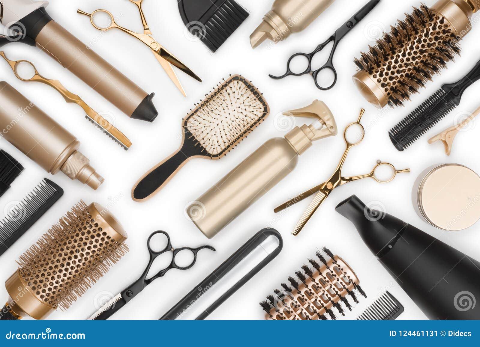 Full Frame Of Professional Hair Dresser Tools On White ...