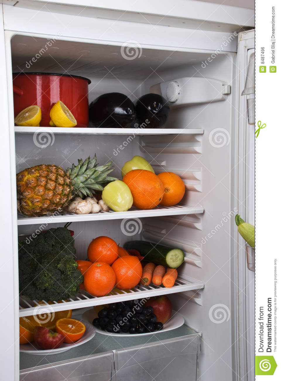 Full Fridge With Fruits And Vegetables Stock Photo Image