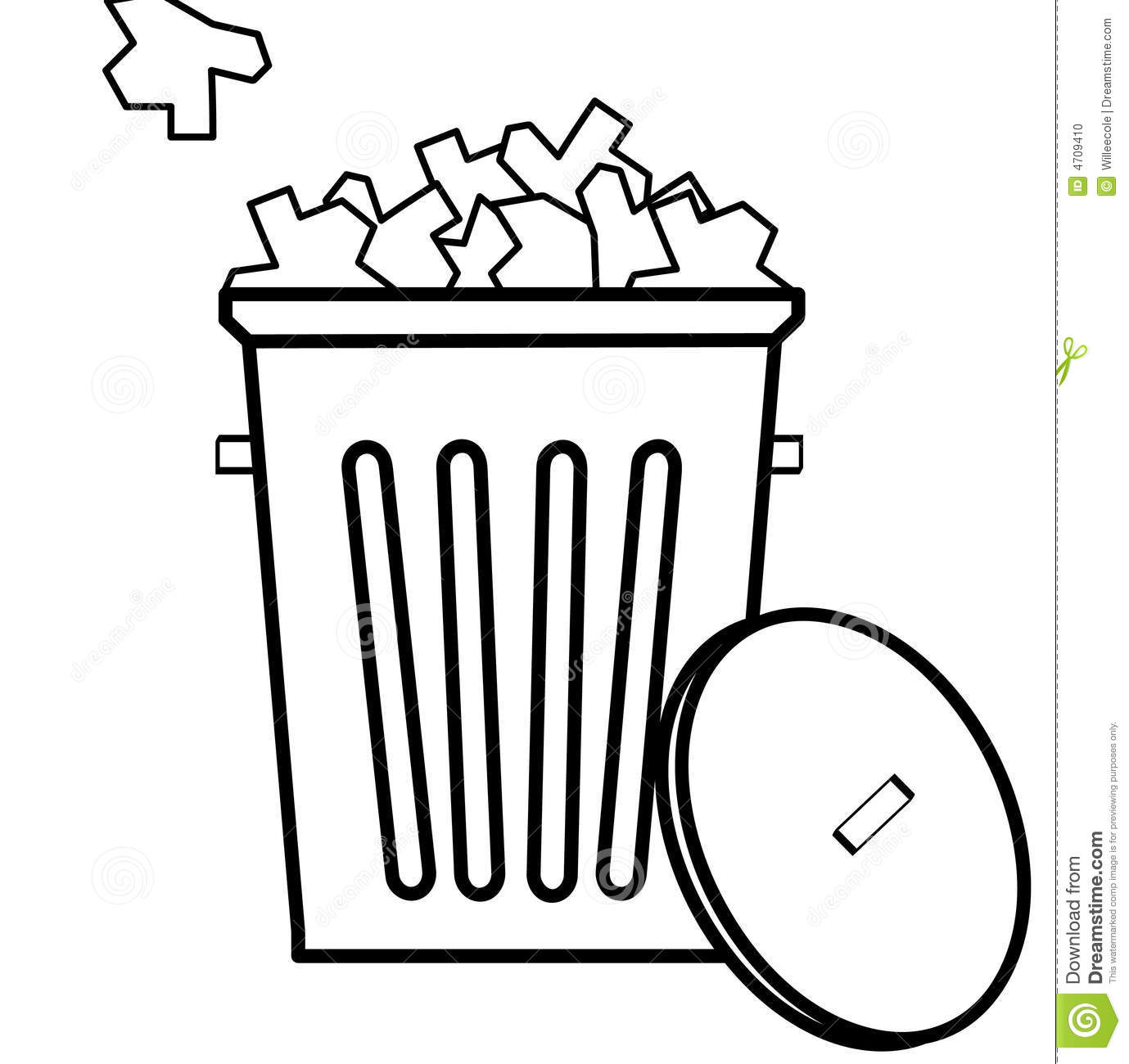 Outline of garbage with filled to the top with garbage - vector.