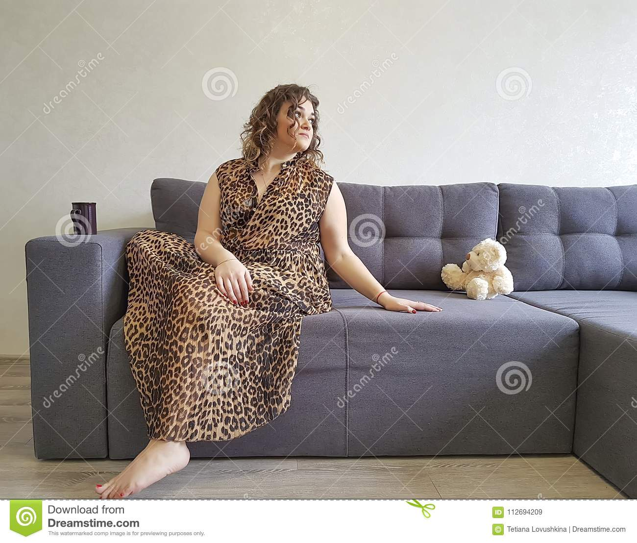 Full girl the sofa teddy bear toy emotions holding relax