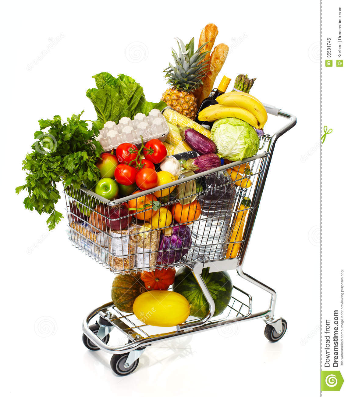 Full grocery cart royalty free stock photo image 35581745 for Shopping cuisine