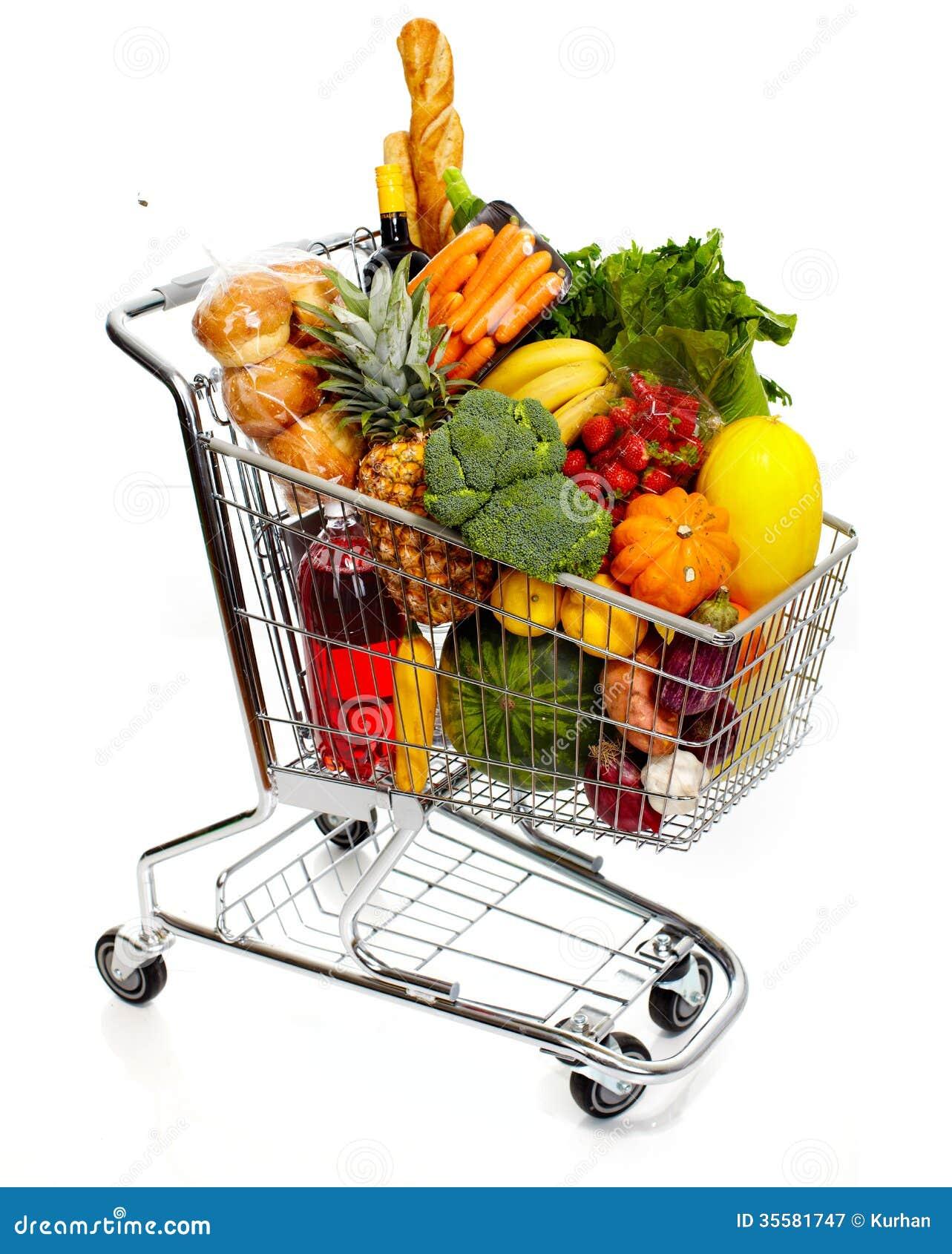 Grocery Cart Full Of Vegetables, Supermarket Trolleys ...