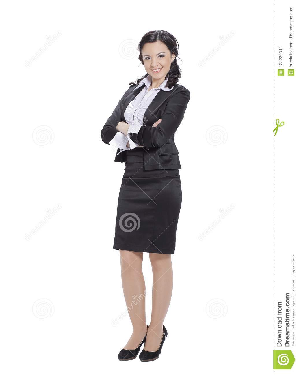 In full growth.portrait of successful business woman.isolated on white