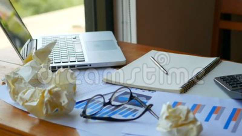 Full HD Footage Of Work Space Background Computer Laptop With Paper