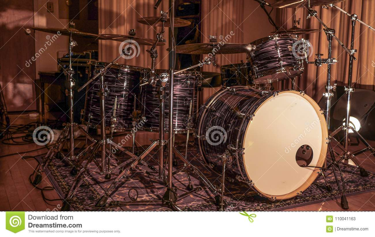 Drum Set On Stage Stock Image Image Of Metal Equipment 110041163