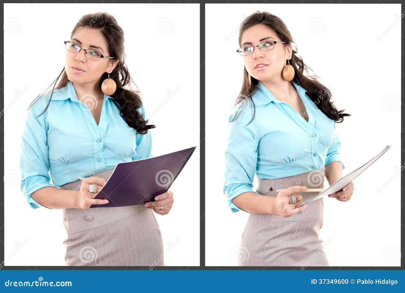 Full kroppstående av den latinamerikanska affärskvinnan med